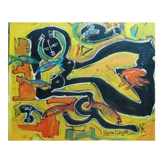 """Abstract """"Nude with Fish"""" Painting by Neith Nevelson For Sale"""