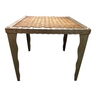 1980s Industrial Metal and Wicker Side Table For Sale