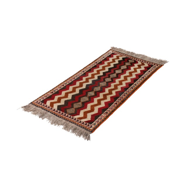 Transitional Antique Gabbeh Geometric Beige-Brown and Red Wool Persian Rug For Sale - Image 3 of 5
