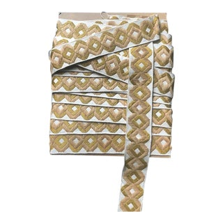 1960s Vintage Geometric Gold & Cream Wide Tape Trim For Sale