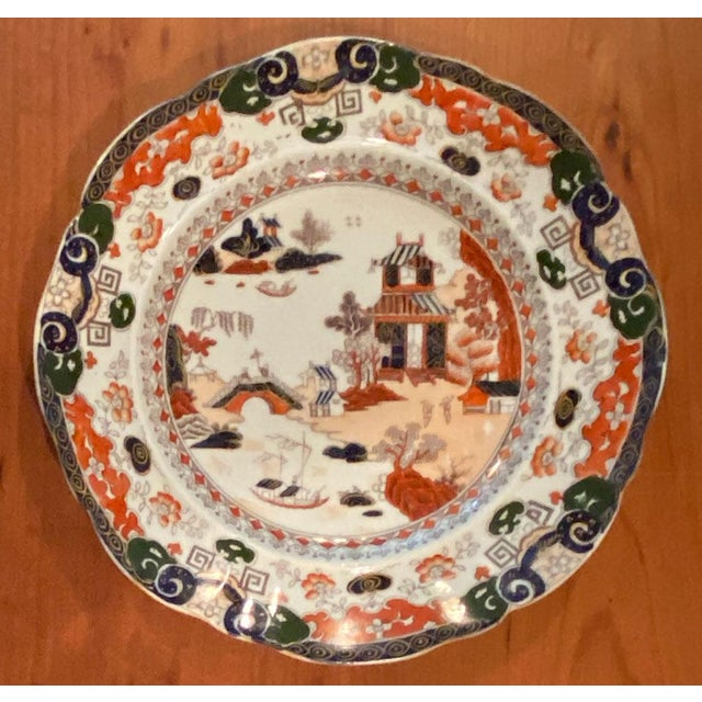 Chinoiserie Antique Mason's Ironstone Chinoiserie Luncheon or Dinner Plates — Set of 6 For Sale - Image 3 of 11