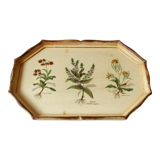 Vintage Florentine Wooden White-Cream Tray With Floral Motifs For Sale