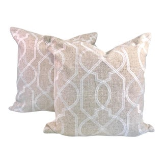 Contemporary Natural and White Embroidered Fretwork Pillows With Inserts - a Pair For Sale
