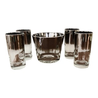 Mid-Century Silver Fade Ombré Highball Glasses and Ice Bucket- Set of 5 For Sale