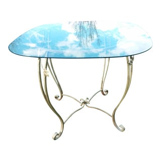 Vintage Mid Century Wrought Iron & Glass Table For Sale