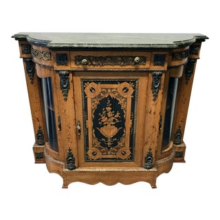 Vintage Inlaid Console Credenza with Ormolu and Marble Top