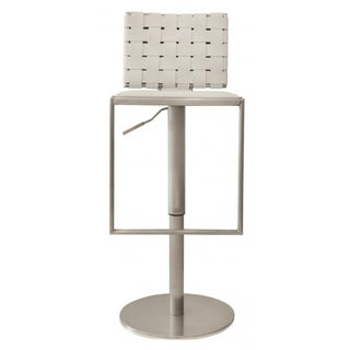 Modani White Woven Leather Bar Stools - A Pair For Sale