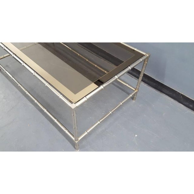 French Faux Bamboo Chrome-Plated Cocktail Table with Smoked Glass Top For Sale - Image 3 of 5
