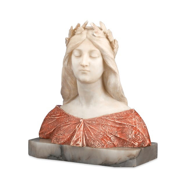 Art Nouveau Alabaster and Onyx Bust by G. Gambrogi For Sale - Image 3 of 8