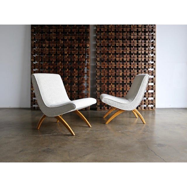 Milo Baughman oak Scoop Chairs for Thayer Coggin circa 1955. This pair has been expertly restored.