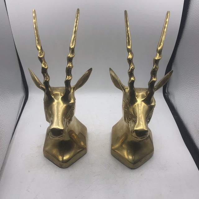 Brass Antelope Bookends - a Pair For Sale - Image 11 of 11