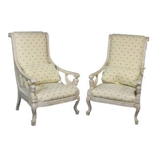Vintage Mid Century French Empire Style Winged Maiden Armchairs- A Pair For Sale