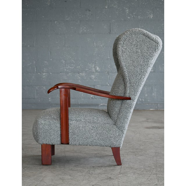 Gray Fritz Hansen Model 1582 Wingback Lounge Chair in Grey Boucle Danish Midcentury For Sale - Image 8 of 13