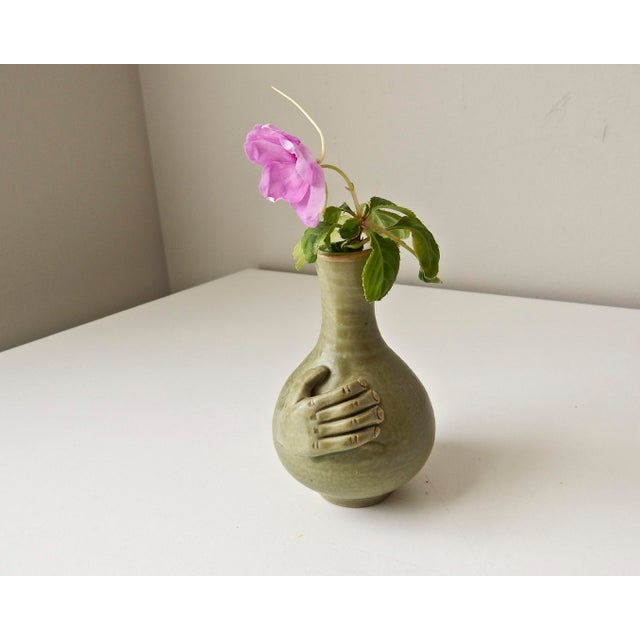 Mini Bud Vase with Hand in Celadon - Image 3 of 8