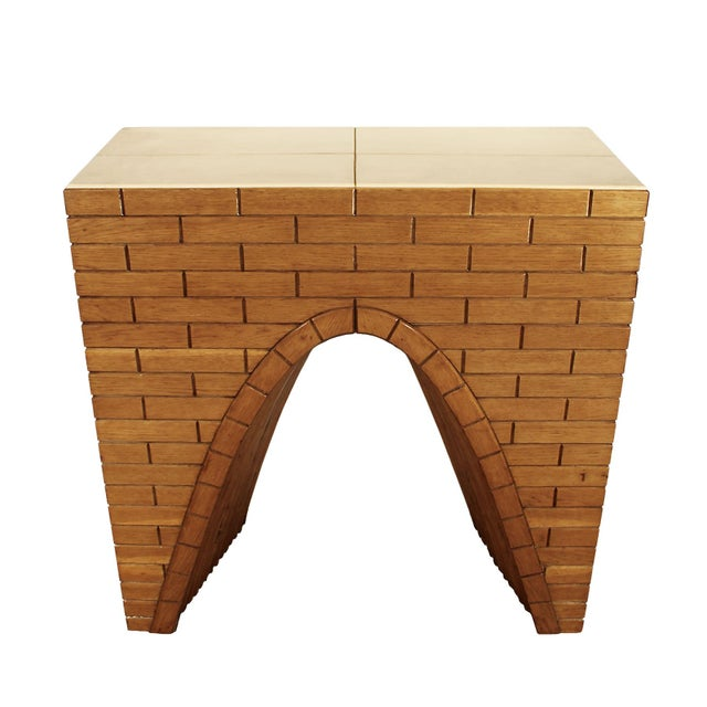 """Mid-Century Modern 1940s """"Fireplace"""" Console Table, Oakwood and Parchment, Italy For Sale - Image 3 of 10"""