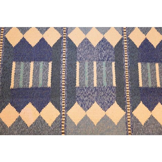 Blue Vintage Swedish Scandinavian Kilim Rug - 5′6″ × 8′ For Sale - Image 8 of 9