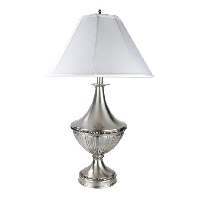 Stiffel Metal Table Lamp & Cotton Shade - Image 1 of 11