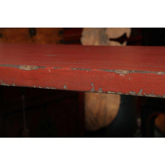 Antique Linen Covered Red Lacquered Elmwood Console Table, 19th Century China For Sale In New York - Image 6 of 11