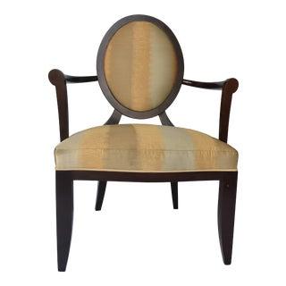 Vintage Barbara Barry for Baker X-Frame Oval Back Arm Chair For Sale