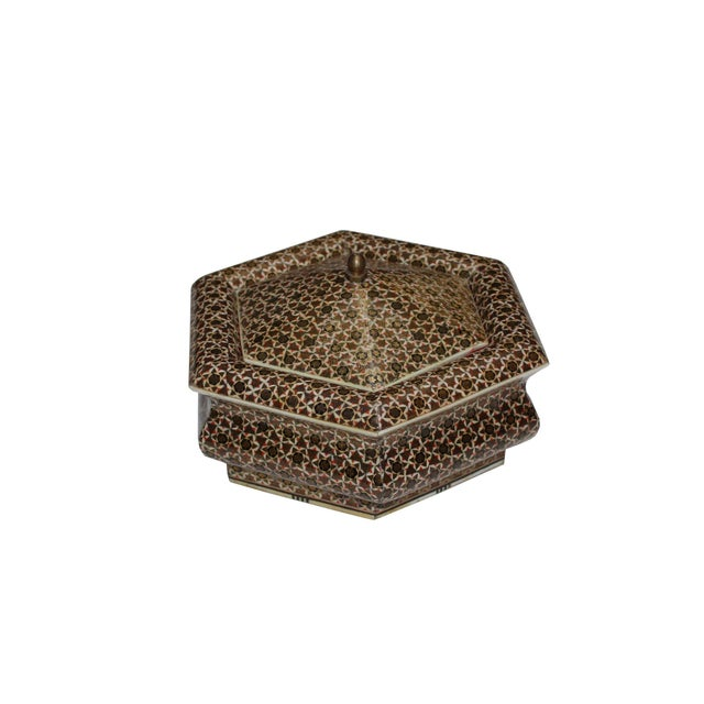 Hexagonal Wood Inlaid Box For Sale
