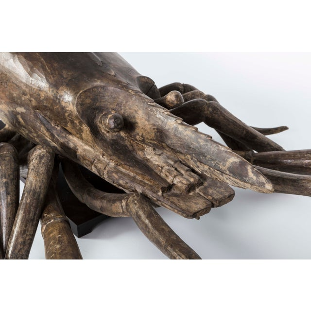 Mid 19th Century French Wood Carved Lobster Sculpture on Custom Made Iron Base 19th Century For Sale - Image 5 of 7