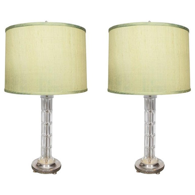 Glass Pair of Glass and Silver Plate Lamps For Sale - Image 7 of 7