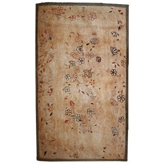 1880s Antique American Hooked Rug- 4′ × 6′10″ For Sale