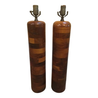 Mid Century Modern Wooden Lamps - a Pair For Sale