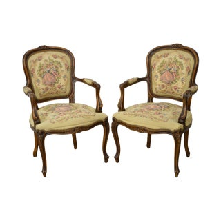 Louis XV Style Italian Carved Tapestry Upholstered Arm Chairs - A Pair