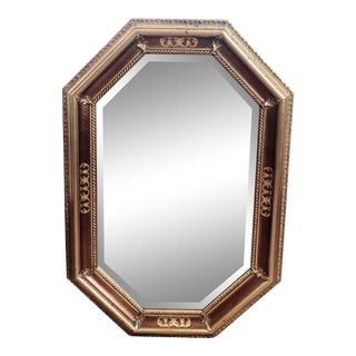 Gilded and Veneered 8-Sided Wall Mirror For Sale