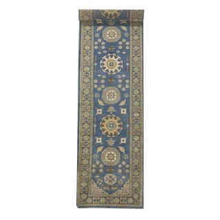 "Vintage Geometric Asian Style Transitional Hand-Knotted ""Khotan"" Long Runner Rug- 2′9″ × 13′ For Sale"