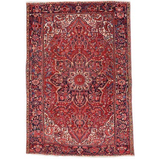 76187 Vintage Persian Heriz Rug with Mid-Century Modern Style 07'07 X 11'00