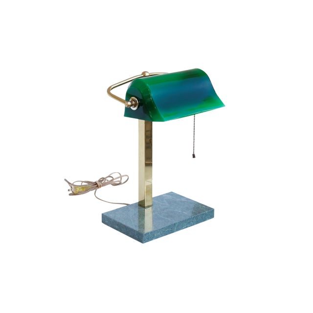 Green Glass, Brass & Marble Banker's Desk Lamp For Sale