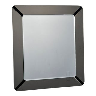 Cristal Arte Square Mirror With Gray Art Glass Frame For Sale