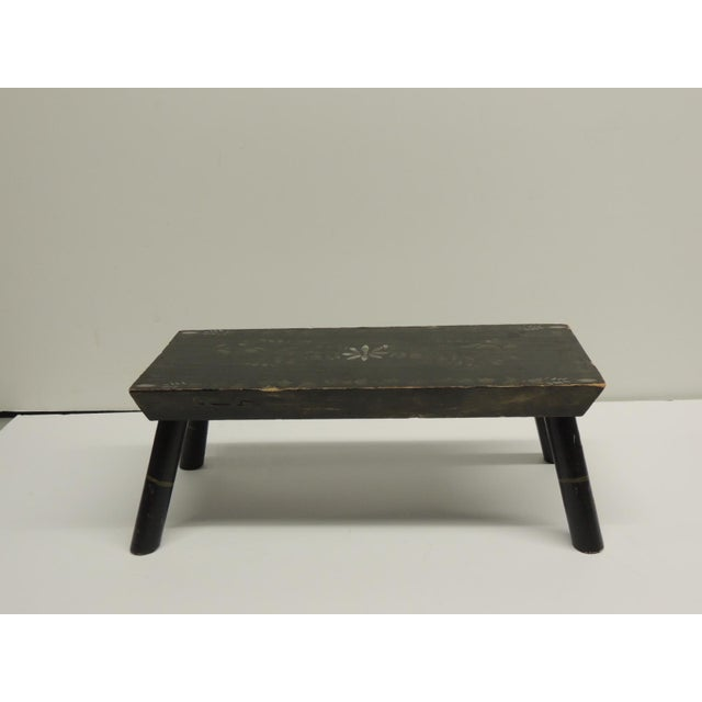 Painted Primitive Black Painted Stool - Image 3 of 5