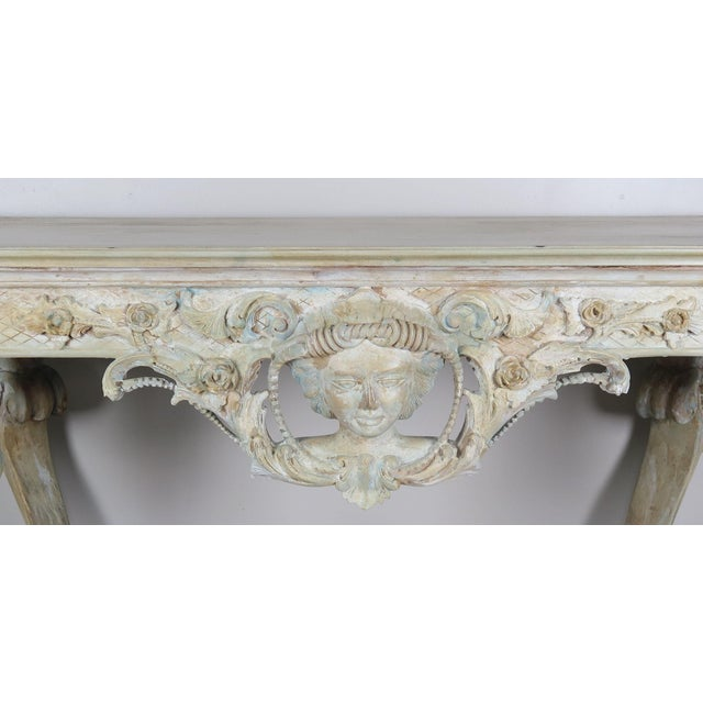 Early 20th Century Early 20th Century French Carved Painted Console Table For Sale - Image 5 of 12