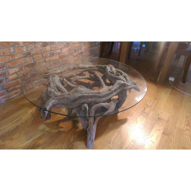 Driftwood Glass Top Coffee Table - Image 3 of 7