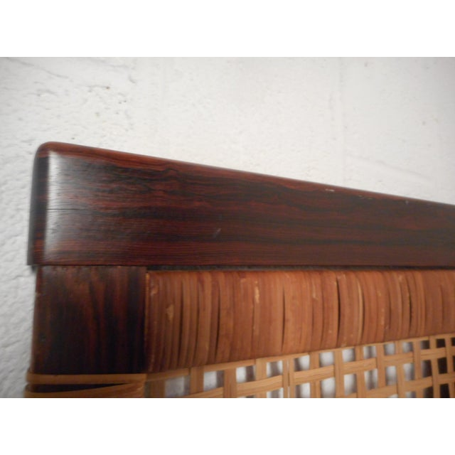 Danish Modern Midcentury Queen Sized Rosewood and Cane Headboard For Sale - Image 3 of 11