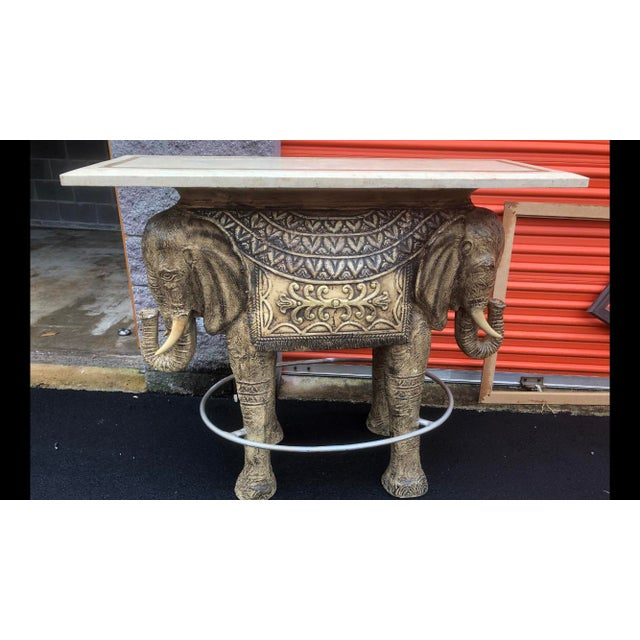 Brown Boho Chic Style Elephant Bar/Table For Sale - Image 8 of 9