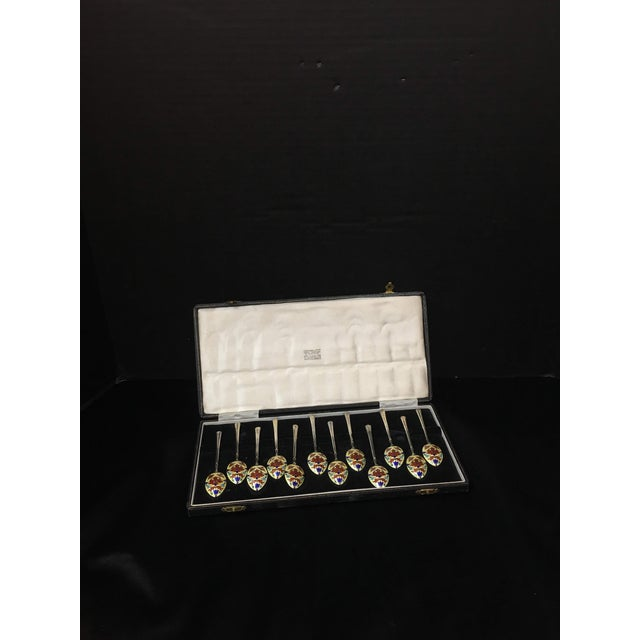 1950s English Enameled Sterling Demitasse Spoons - a Set of 12 For Sale - Image 5 of 5