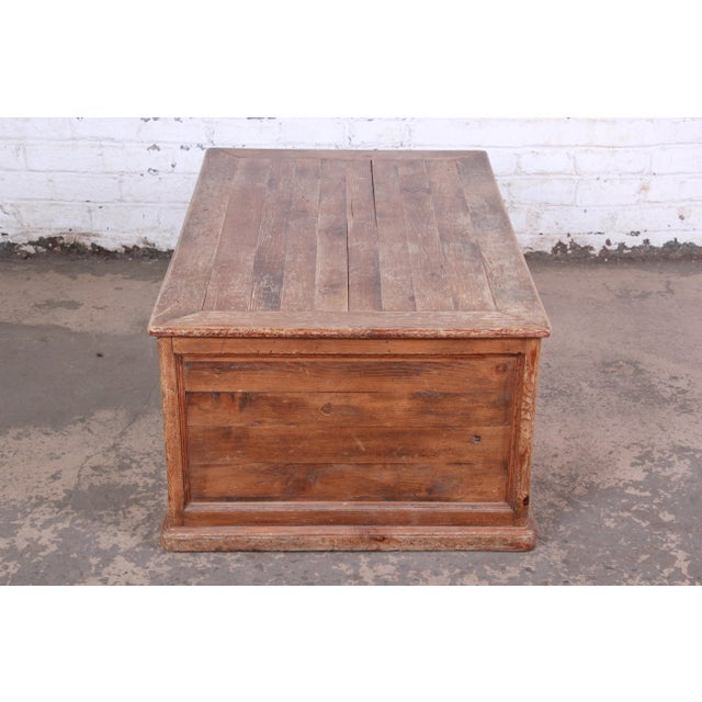 19th Century Country French Primitive Pine Double-Sided Map File Cabinet or Coffee Table For Sale - Image 11 of 13