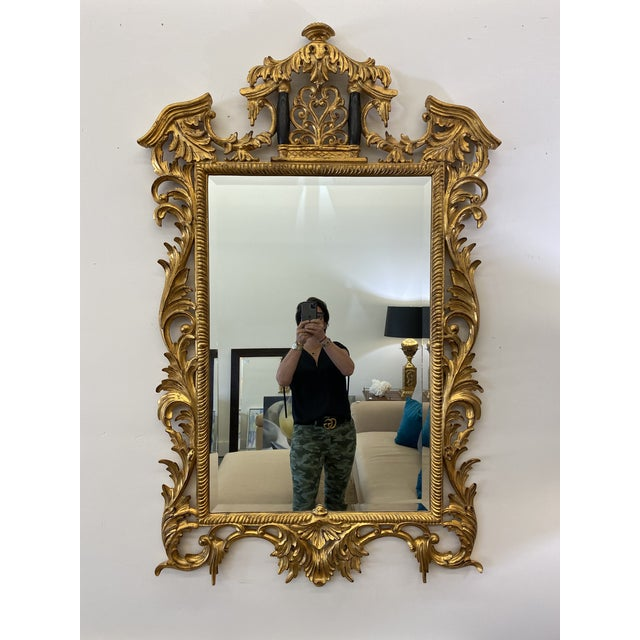 Glass Vintage Harrison and Gil Gilded Chinoiserie Mirror For Sale - Image 7 of 7