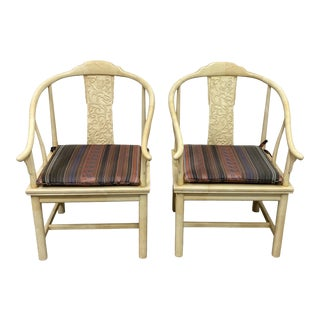 Mid 20th Century Henredon James Mont Carved Lacquered Horseshoe Chairs - a Pair For Sale