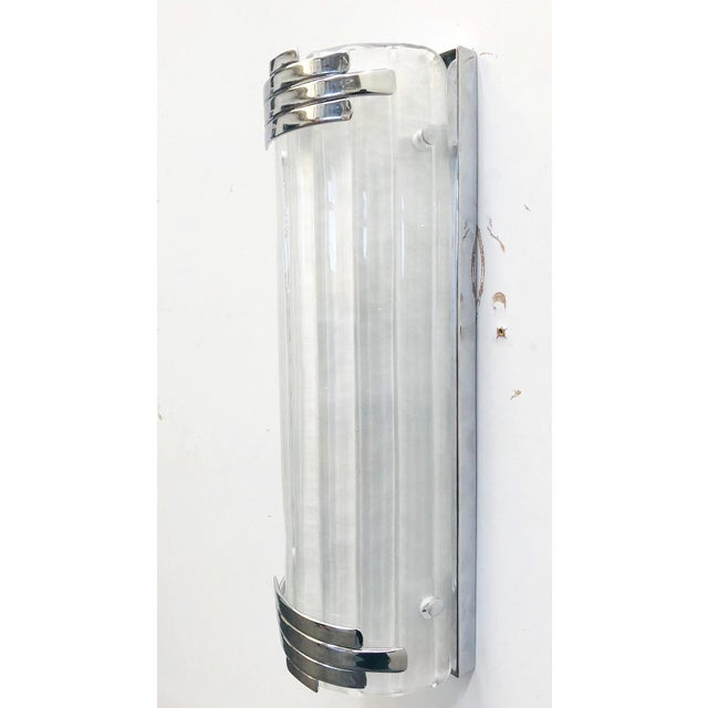 Art Deco Marlene Frosted Murano Glass Chrome Sconces / Flush Mounts by Fabio Ltd - a Pair For Sale - Image 3 of 8