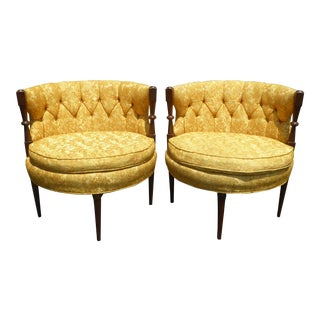 1960s Vintage Stacey House Atomic Era Gold Club Chairs - a Pair Mid Century Modern For Sale
