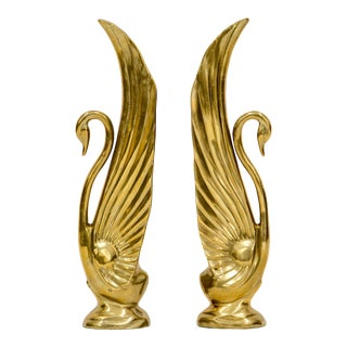 Rosenthal Netter Tall Brass Swans, a Pair For Sale