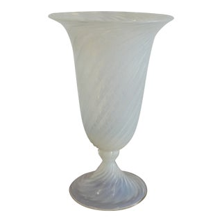 Enormous Tall Italian Murano Glass Footed Vase For Sale