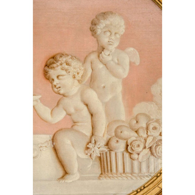 White Pair of Neoclassic Grisailles Paintings For Sale - Image 8 of 9