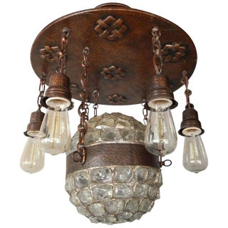 Swedish Arts and Crafts Era Chunk Glass and Copper Hanging Fixture, Circa 1910 For Sale