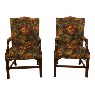 Pair Solid Mahogany Chippendale Library Chairs For Sale